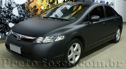 Envelopado honda civic preto fosco